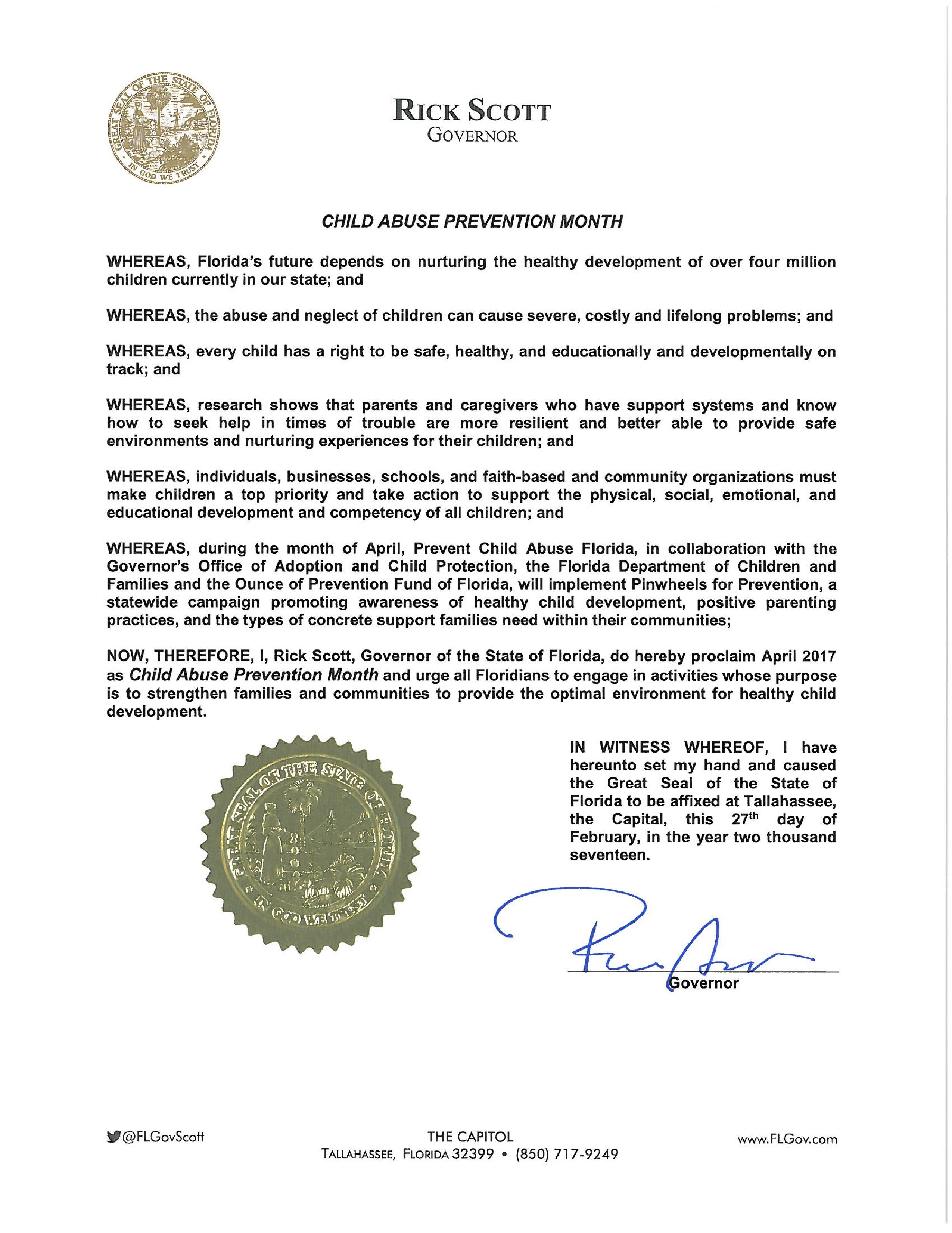 Child Abuse Prevention Month Proclamation 2017