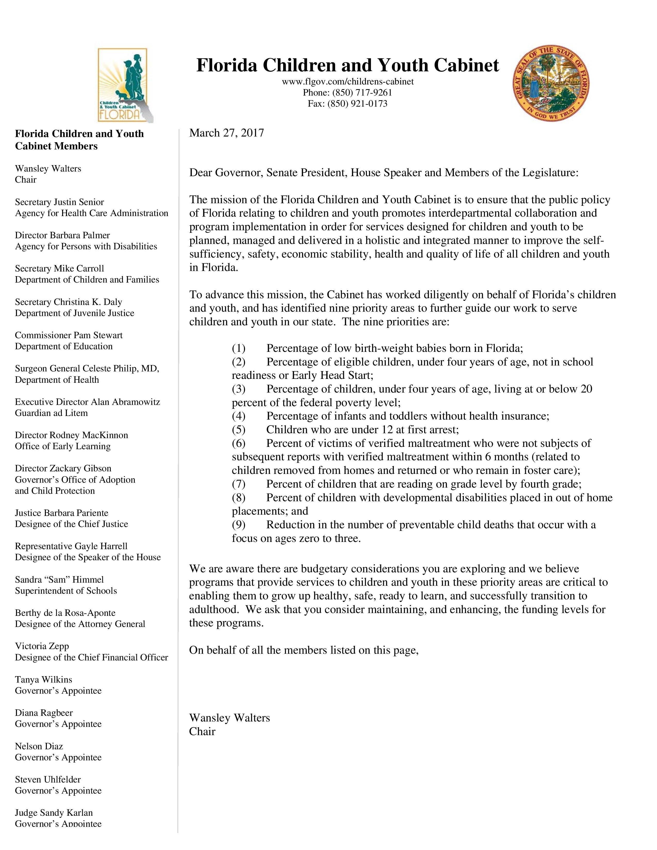 Florida Children and Youth Cabinet Letter 03_27_17